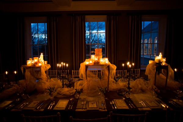 Candlelit table at Bridwell