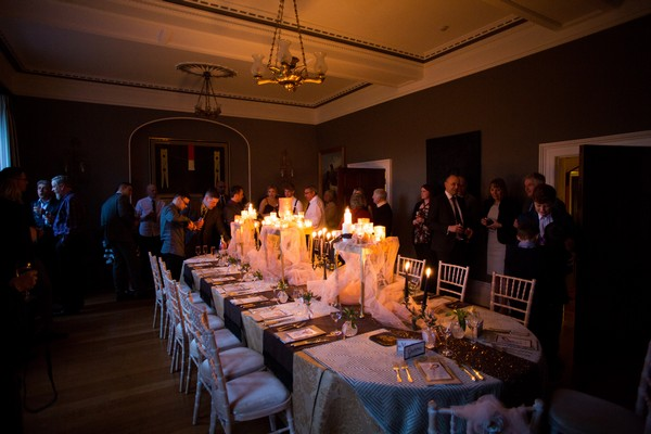 Candlelit wedding reception at Bridwell