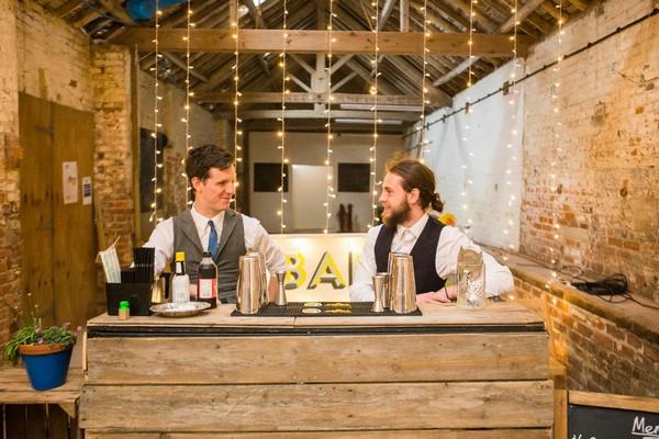 Wooden bar at wedding