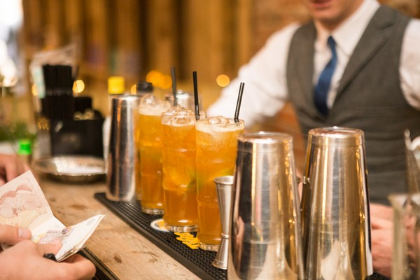 Drinks being served at wedding