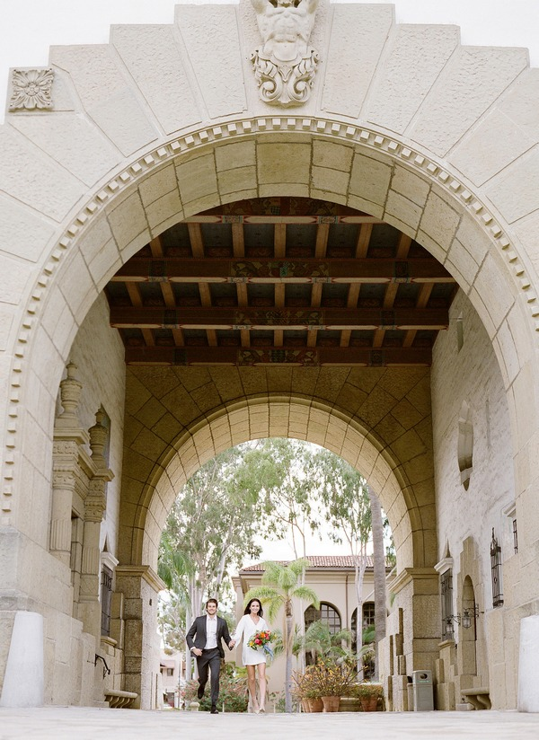 Bride and groom leaving Santa Barbara courthouse