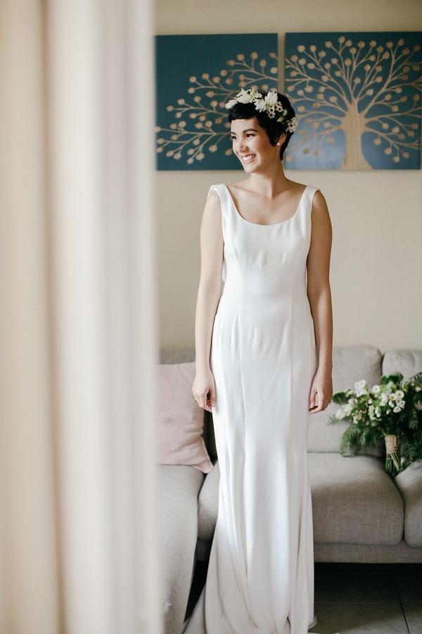Bride in Oscar de la Renta wedding dress