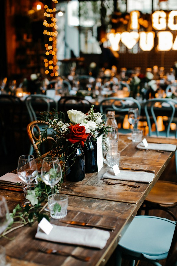 Simple wedding table styling