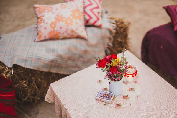 Rustic seating area at wedding
