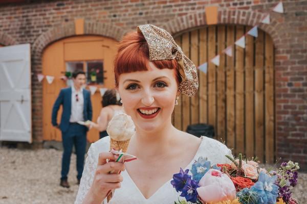 Bride holding ice cream