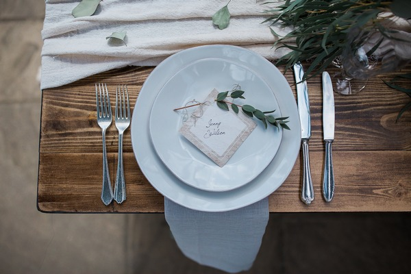 Wabi-sabi inspired wedding place setting