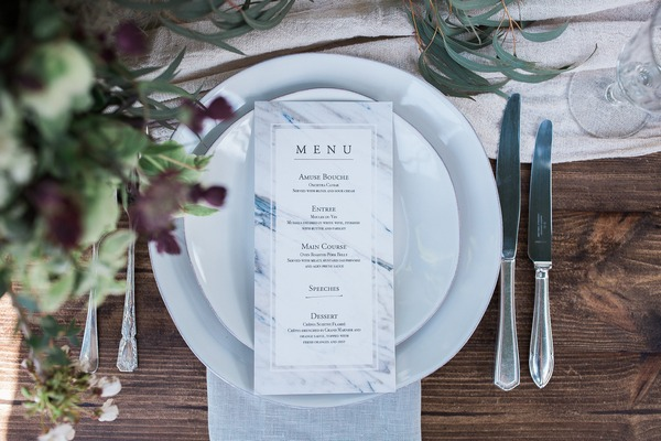 Menu at wedding place setting