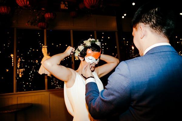 Bride putting on blindfold