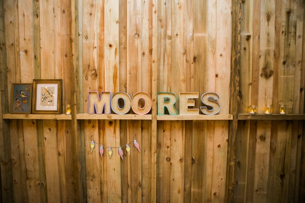 Moores letters on shelf