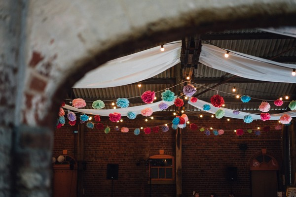 Colourful wedding ceiling decor