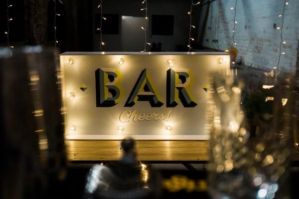 Bar sign at wedding