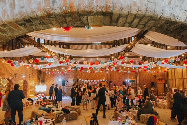 Wedding party in Barn at Home Farm Sledmere House