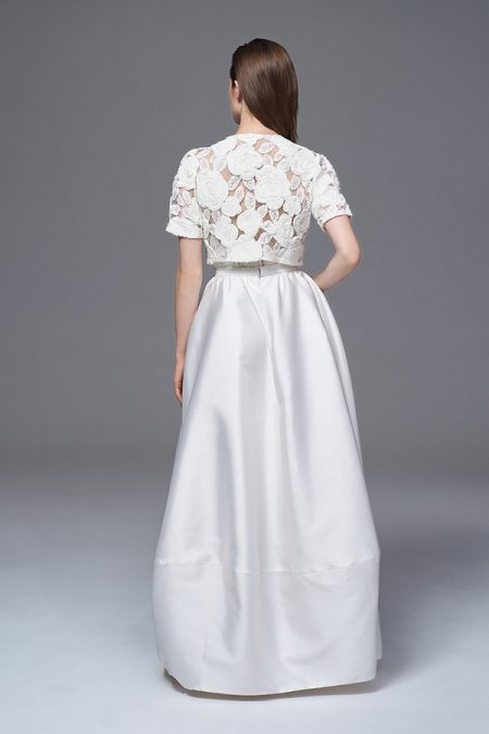 Back of Alexa Skirt with Rosa Bolero Jacket from the Halfpenny London Wild Love 2017 Bridal Collection
