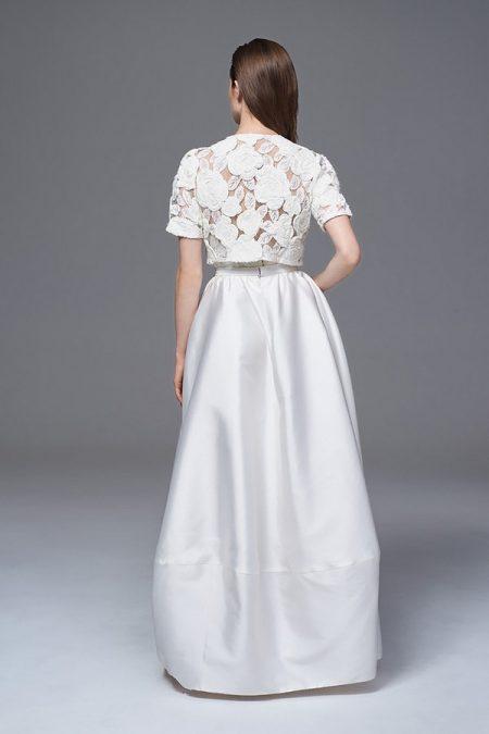 Back of Alexa Skirt with Rosa Bolero Jacket from the Halfpenny London Wild Love 2017 Bridal Collection