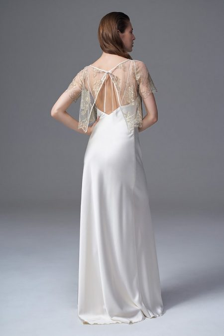 Back of Berry Gold Jacket with Iris Slip from the Halfpenny London Wild Love 2017 Bridal Collection