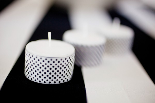 Black and White Spotty Candles Made from Tealights