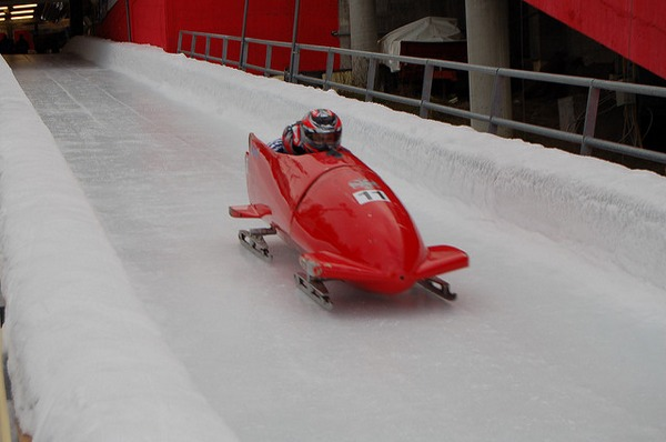 Red bobsleigh