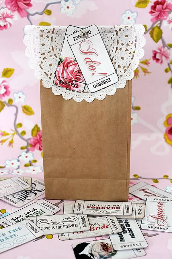 Brown Bag with Vintage Style Wedding Tickets