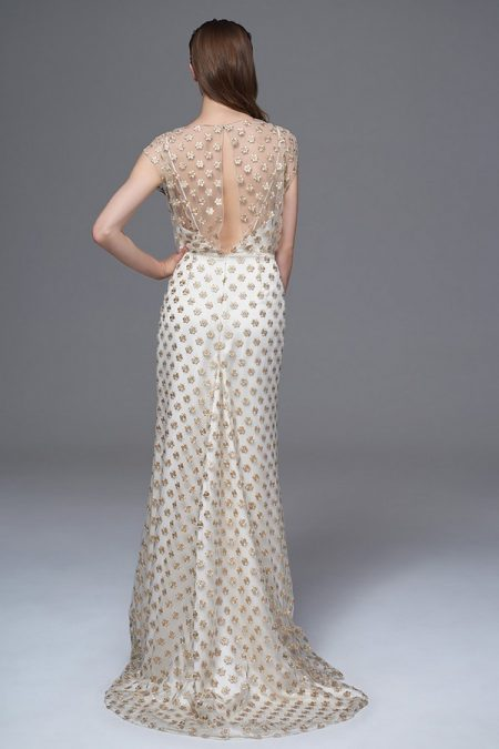 Back of Chloe Gold Flower Wedding Dress from the Halfpenny London Wild Love 2017 Bridal Collection