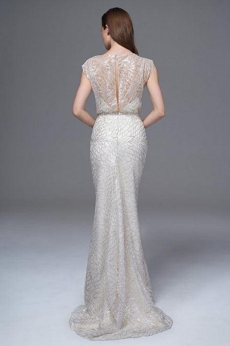 Back of Chloe Silver Sequin Wedding Dress from the Halfpenny London Wild Love 2017 Bridal Collection
