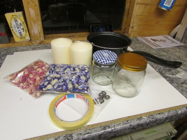 Items needed to make a DIY petal candle