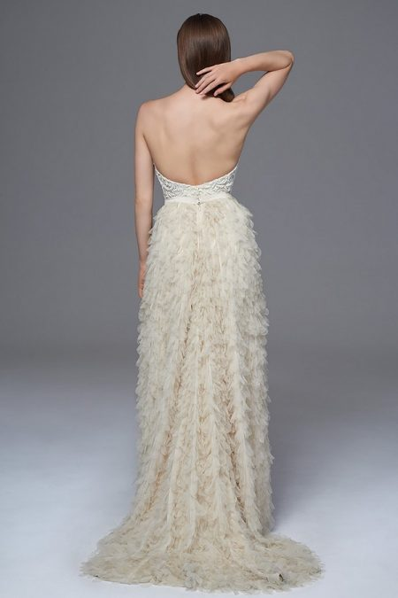 Back of Dita Beaded Corset with Swan Skirt from the Halfpenny London Wild Love 2017 Bridal Collection