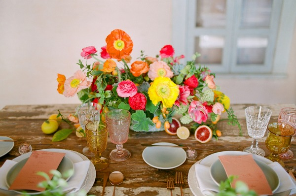 Bright and colourful elopement table flowers and decor