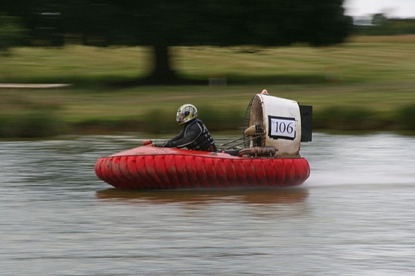 Man racing hovercraft