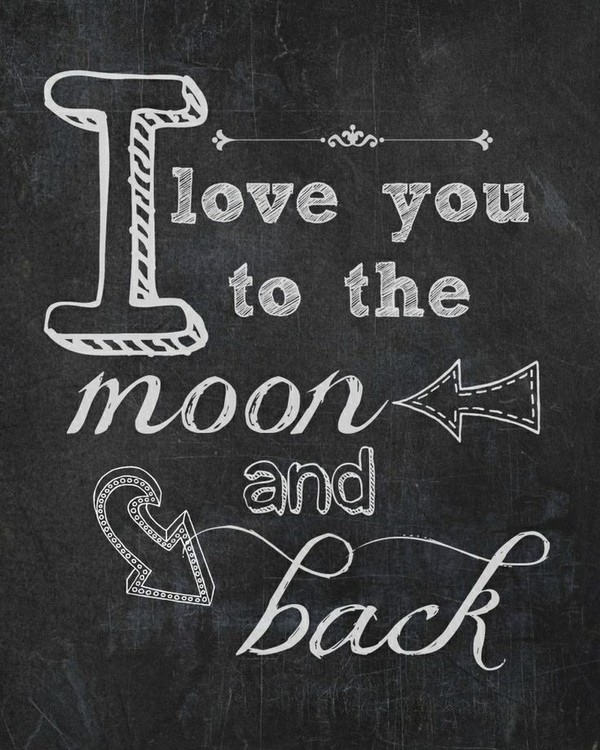 I Love You to the Moon and Back Chalkboard Printable