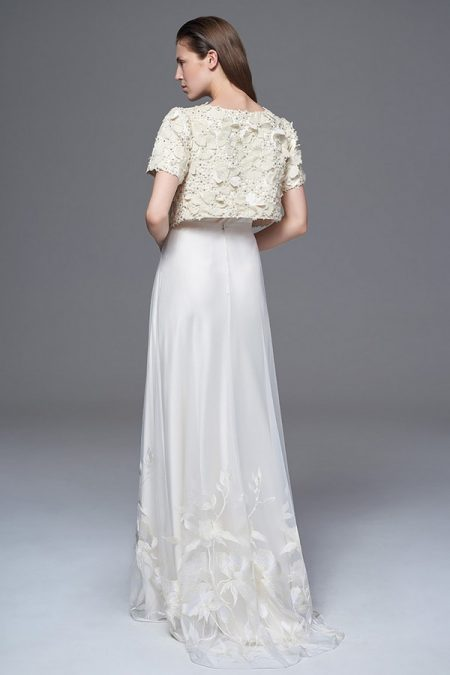 Back of Isobel Jacket with Lily Skirt and Iris Slip from the Halfpenny London Wild Love 2017 Bridal Collection