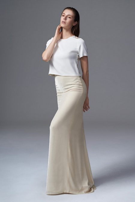 Martha Tee with Celine Velvet Skirt from the Halfpenny London Wild Love 2017 Bridal Collection