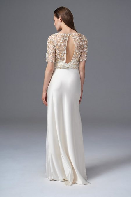 Back of Raf Jacket with Iris Slip from the Halfpenny London Wild Love 2017 Bridal Collection