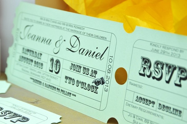 Ticket Style Carnival Wedding Stationery