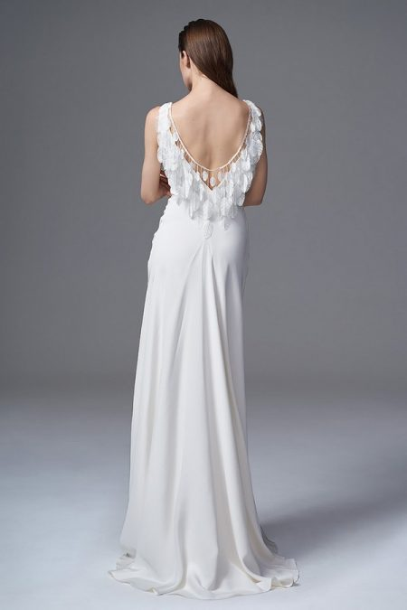 Back of Vera Wedding Dress with Feathers from the Halfpenny London Wild Love 2017 Bridal Collection