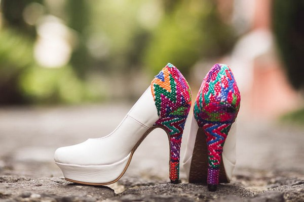 Bridal shoes with bright stitched patterned heel