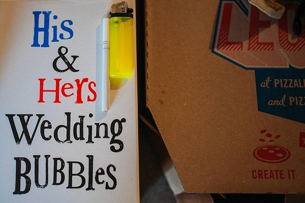 His and hers wedding bubbles