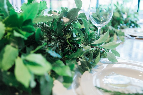 Herb wedding table runner