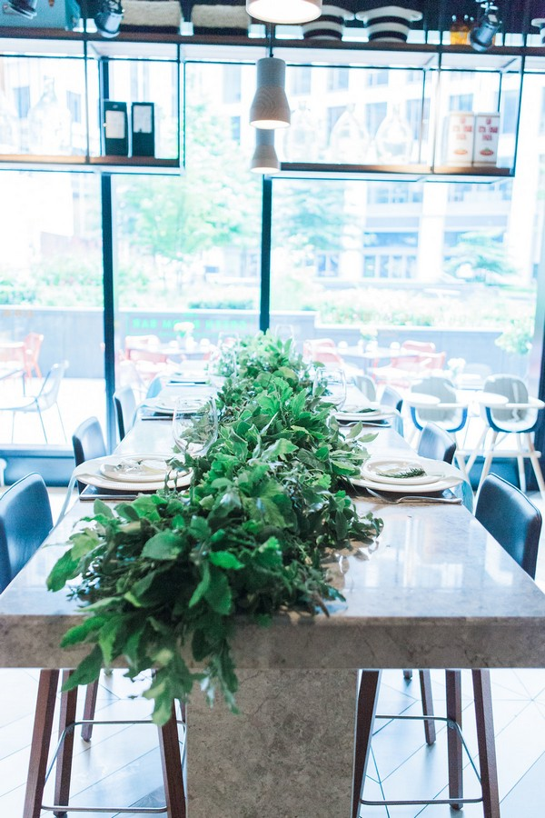 Wedding table with herb table runner