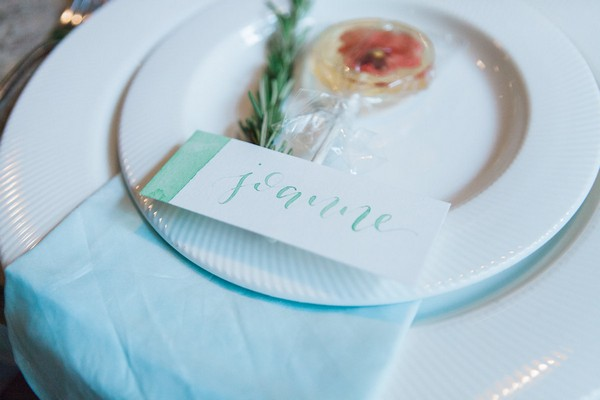 Wedding place setting with watercolour place card