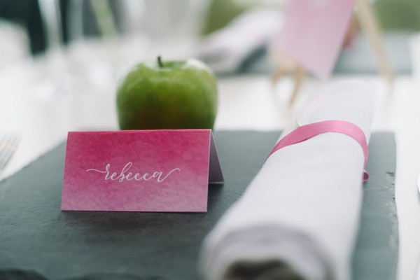 Pink wedding place card