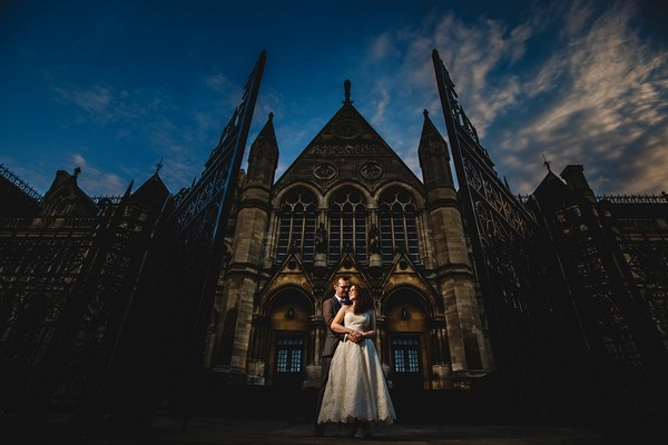 Bride and groom outside The Arkwrite Rooms - Picture by HBA Photography