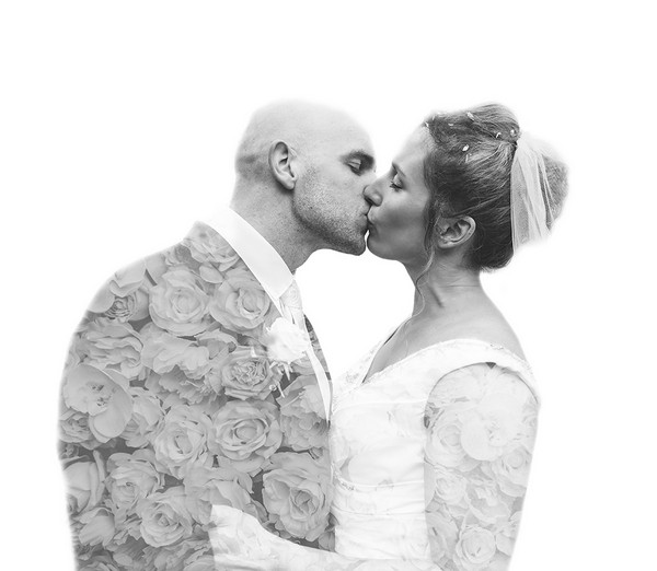 Bride and groom kissing with flowers superimposed into the picture - Picture by Tracey Warbey Photography