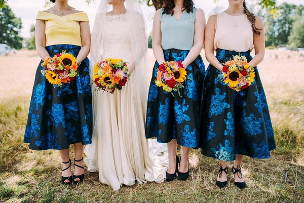 Bride and bridesmaids colourful wedding bouquets