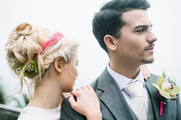 Bride's updo with pink hairband