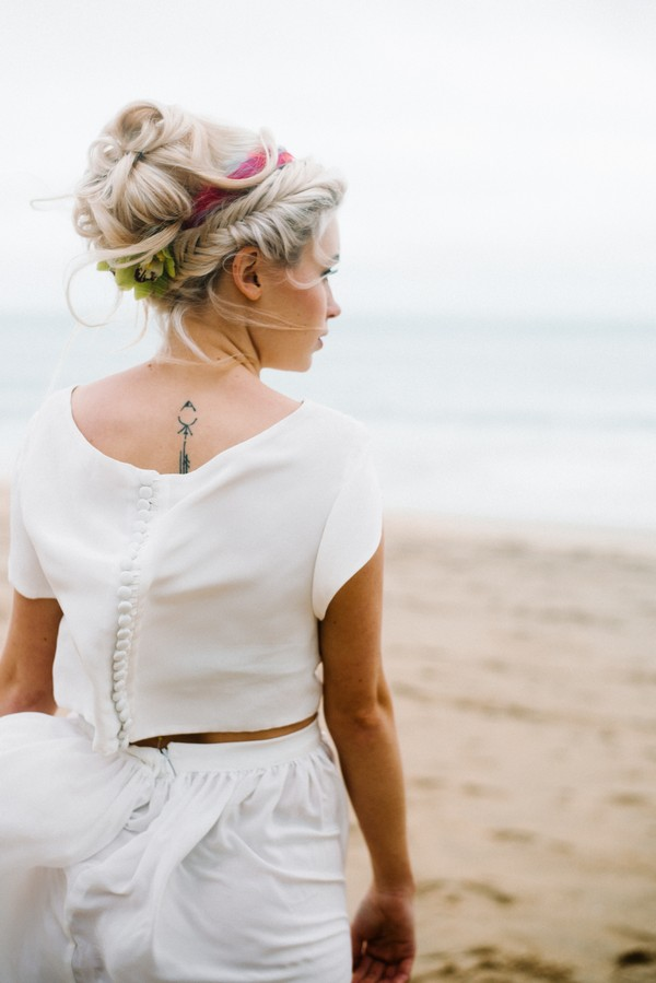 Back of bride's top and skirt separates