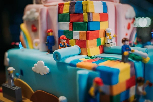 Detail on Lego Movie cake