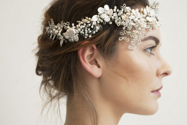 Aster Silver Leaf Bridal Headpiece by Gillian Million and Amanda Wakeley