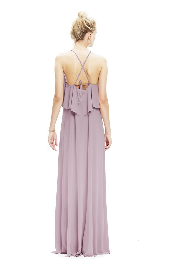 Back of Zoe Jersey Dress with Cross Back in Heather from Twobirds Bridesmaid Party Collection