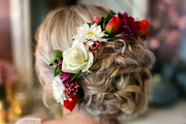 Braided Bun Bridal Hairstyle with Fresh Flowers from Back