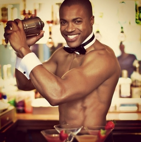 Butler in the Buff Making Cocktails